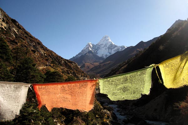 Trek - Ama Dablam and Flags
